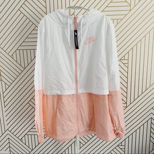 Nike White + Pink Woven Lightweight Jacket